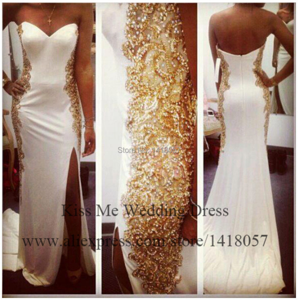 2015 Glamorous Gold Embellished Mermaid Prom Dresses Sweetheart White Long Evening Gowns Real Model Side Slit LP142 In From Weddings Events