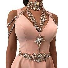 Mejor dama Sexy Diseño de Moda DIY Cristal de Lujo Cuerpo Collar de Cadena Cruzada Maxi Collar de la Declaración Pendiente de La Boda de Las Mujeres 5492