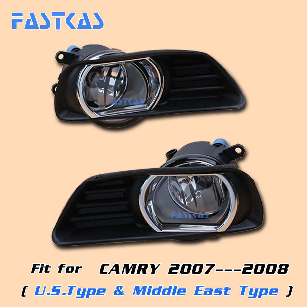 12v Car Fog Light Assembly for Toyota Camry (U.S. Type & Middle East Type) 2007 2008 Left & Right Fog Light Lamp with Harness car fog light assembly for mitsubishi pajero 2007 2008 2009 left