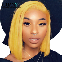 Guanyuhair Short Blonde Bob Wig Pre Plucked Indian Remy Human Hair lace Front Wigs With Baby Hair Natural Hairline Free Part