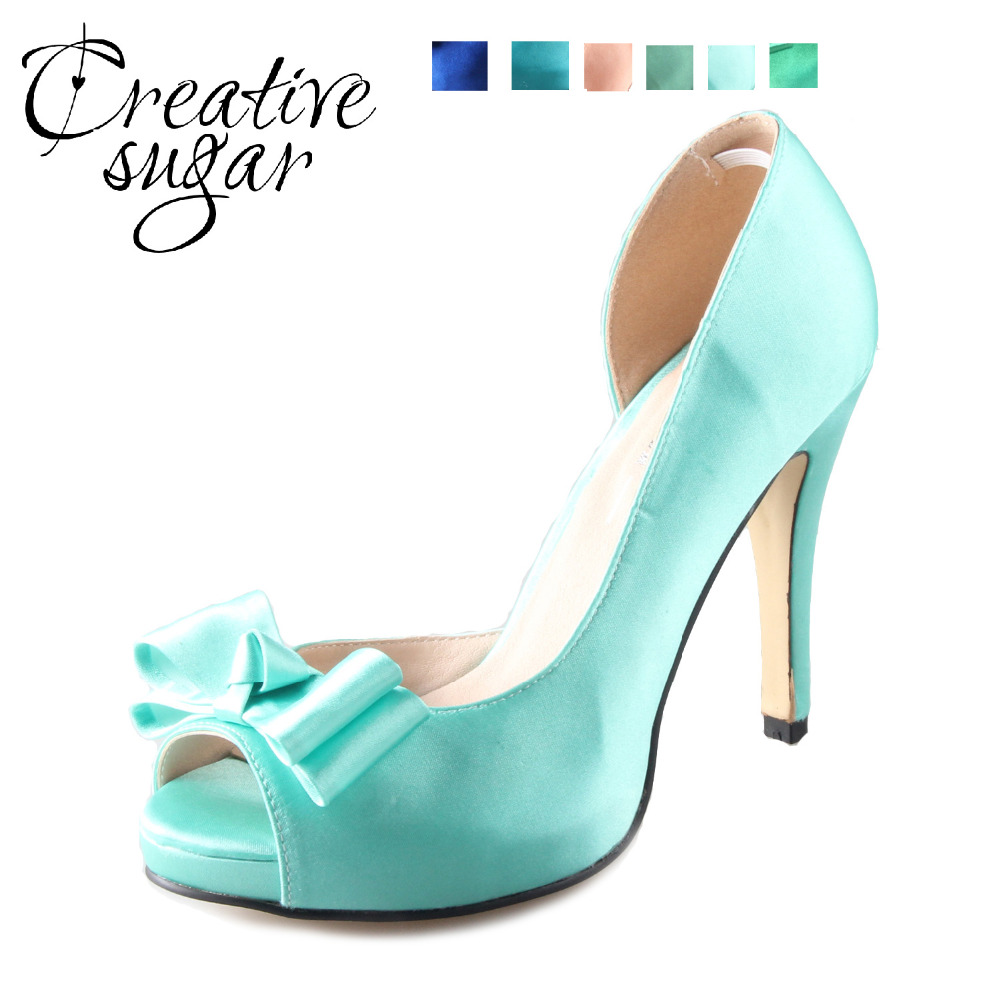 Creativesugar Handmade green mint blue D'orsay bow shoes custom made pumps bridal wedding party evening dress shoes peachy mint ensemble stars 2wink cospaly shoes anime boots custom made