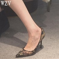 Women Pumps Extrem Sexy Lace High Heels Women Shoes Pointed toe Thin Heels Female Shoes Wedding Shoes Ladies Shoes
