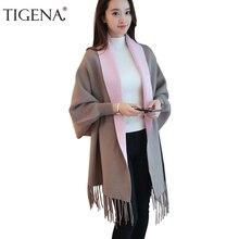TIGENA タッセルポンチョやケープ 2019 秋冬ロングカーディガン女性バットウィングスリーブニットカーディガン女性のセーター