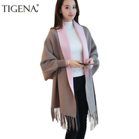 TIGENA Tassel Ponchos And Capes 2019 Autumn Winter Long Cardigan Female Batwing Sleeve Warm Knitted Cardigans Women Sweater