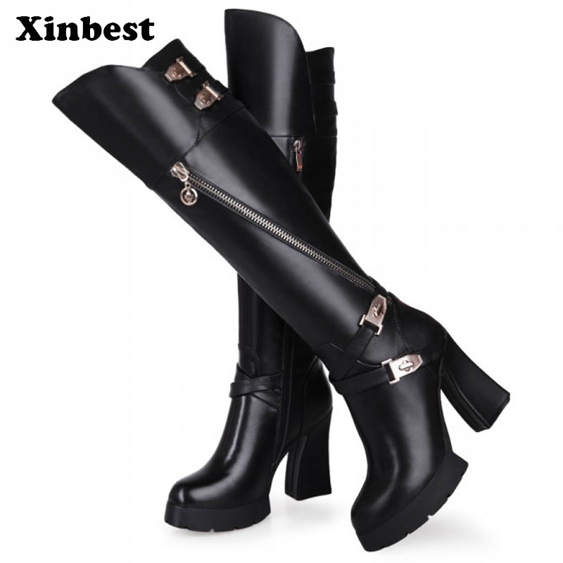 купить Xinbest Women Boots Round Toe Women High Heel Shoes Genuine Leather Womens Winter Boots Square heel Women Knee High Boots по цене 5406 рублей
