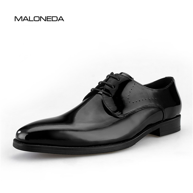 MALONEDA Handmade Lace up Genuine Leather Men's Derby Shoes Black For Wedding Party