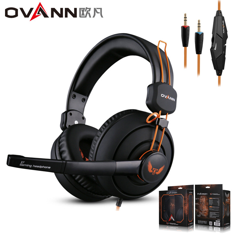 OVANN X7 Hot Pro E-sports Gaming Headphones Super Stereo Bass Noise Isolating Big Earmuffs wired Headset with Microphone for PC