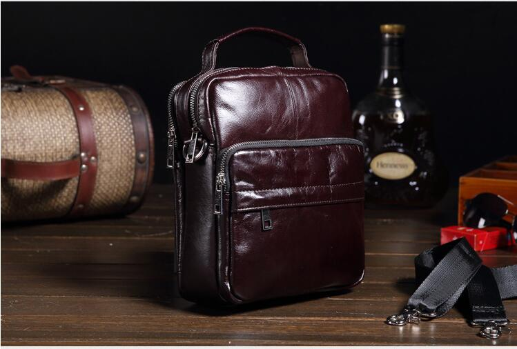 New genuine leather men's messenger bag small shoulder bag casual cowhide leather bag first layer male business bag paste genuine leather women bag new fashion first layer of cowhide crossbody bag handbag shoulder bag casual shell bag 7p0817