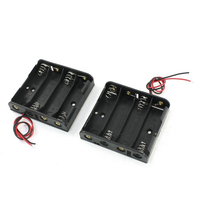 CES Hot 2Pcs Black 4 x 1.5V AA Battery Holder Storage Case Box w Wire Leads