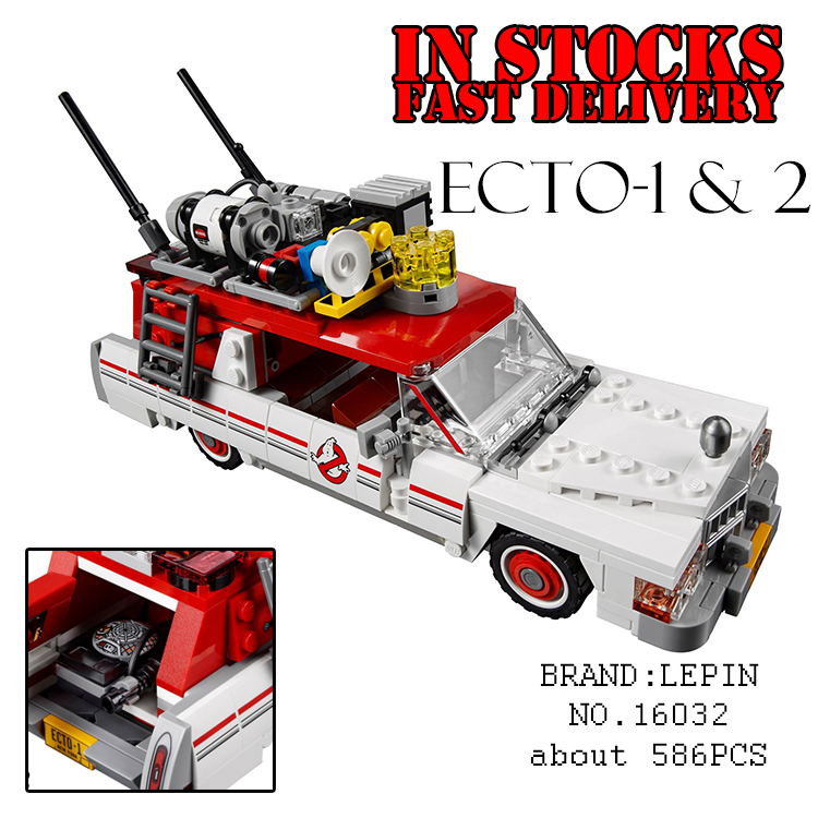 Lepin 16032 586Pcs Movie The Ghostbusters Ecto-1&2 Car Building kits Blocks Bricks fun toys for children gifts 75828 brinquedos back to the future iii 3 delorean dmc12 car models 1 18 scale diecast movie car collections for children by sunstar 2712