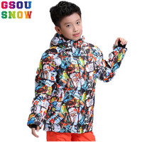 GSOU SNOW Brand Kids Ski Jacket Boys Skiing Suit Children Snowboard Jacket Windproof Waterproof Thermal Sport