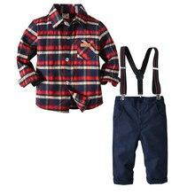 72cafb09e Bebé niños conjuntos de ropa de manga larga camisa a cuadros + tirantes  Pantalones Niño Caballero trajes