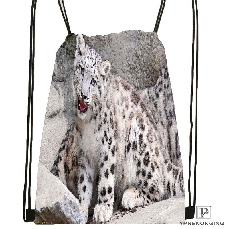 Custom snow leopard nature life Drawstring Backpack Bag Cute Daypack Kids Satchel Black Back 31x40cm 180611