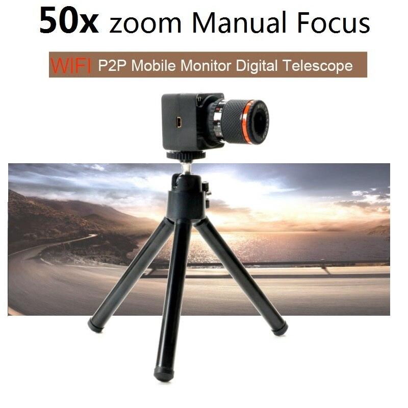 Contrôle APP enregistreur vidéo sans fil 50x jumelles numériques WiFi caméscope P2P 50X Zoom Mini caméra