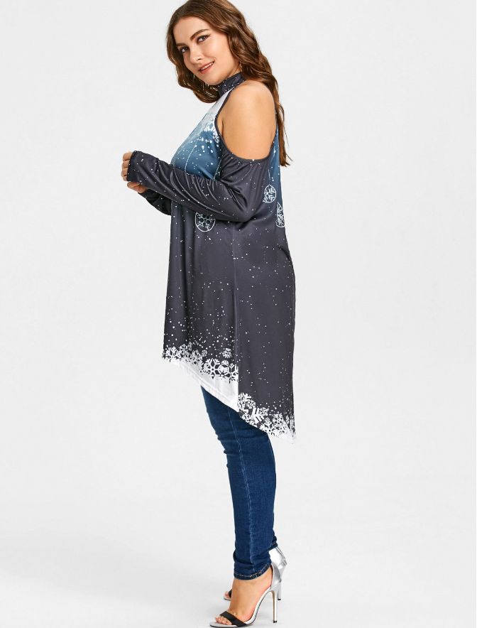 b9fba5a853d89 Aliexpress.com : Buy New Fashion Cold Shoulder Long Sleevess Christmas  Dress Snow Printed Loose Dress Plus Size Irregular Dress xl 4xl SJ313T from  ...