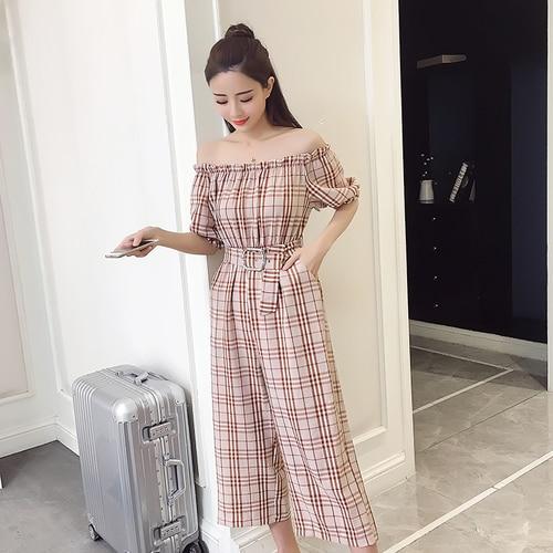 2018 Summer Style Fashion Sweet High Waist Wide Leg With Belt Jumpsuits Elegant Macacao Feminino Temperament Plaid Romper 1