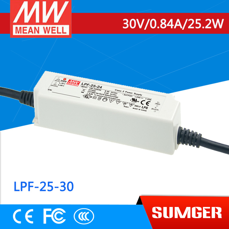 1MEAN WELL original LPF-25-30 30V 0.84A meanwell LPF-25 30V 25.2W Single Output LED Switching Power Supply [mean well] original lpf 60d 30 30v 2a meanwell lpf 60d 30v 60w single output led switching power supply