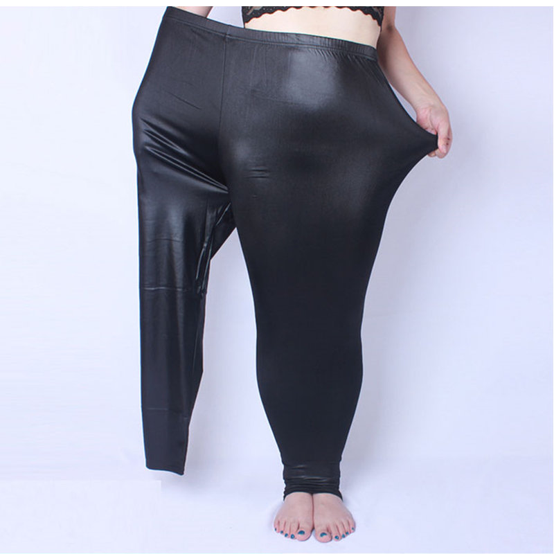 Women Leggings fake Leather Plus Size 5xL Big Sizes Women Clothing Large Slim Legging Pants  Women Leggins Black