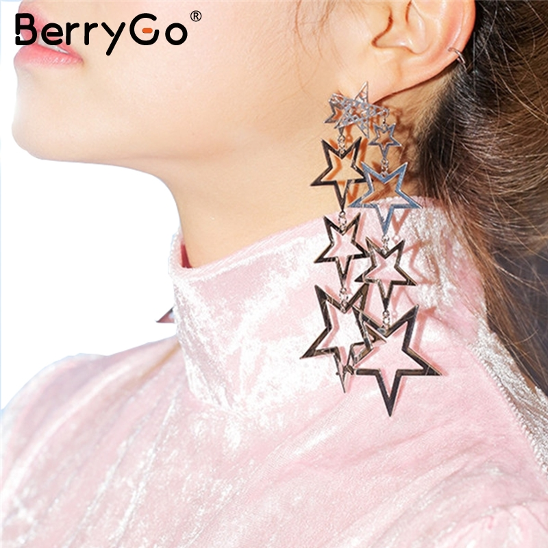 BerryGo Hollow out gold accessories women Fashion elegant star-shaped eardrop Chic party accessories vintage accessories