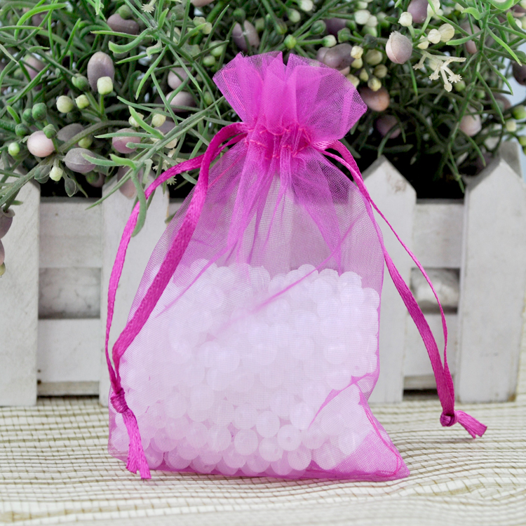 !Wholesale 100pcs/lot Hot Pink Drawable Organza Wedding Gift Bags ...
