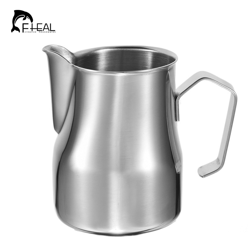 FHEAL Kaffee Krug Milch Aufschäumen Krug 1 stück 350/500/750 ml Edelstahl Espresso Tasse Milch Becher girlande Latte Krug Kaffee Werkzeug