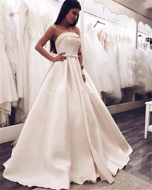 Abito Da Sposa Satin Wedding Gowns Lace Up Back Vintage Bruidsjurken