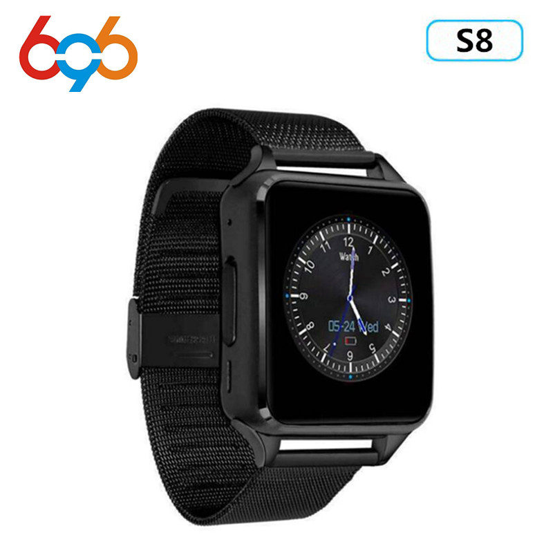 Smart Watch S8 Metal Clock Bluetooth Connectivity Android phone Support SIM TF Card Sync Notifier Push Messages Smartwatch