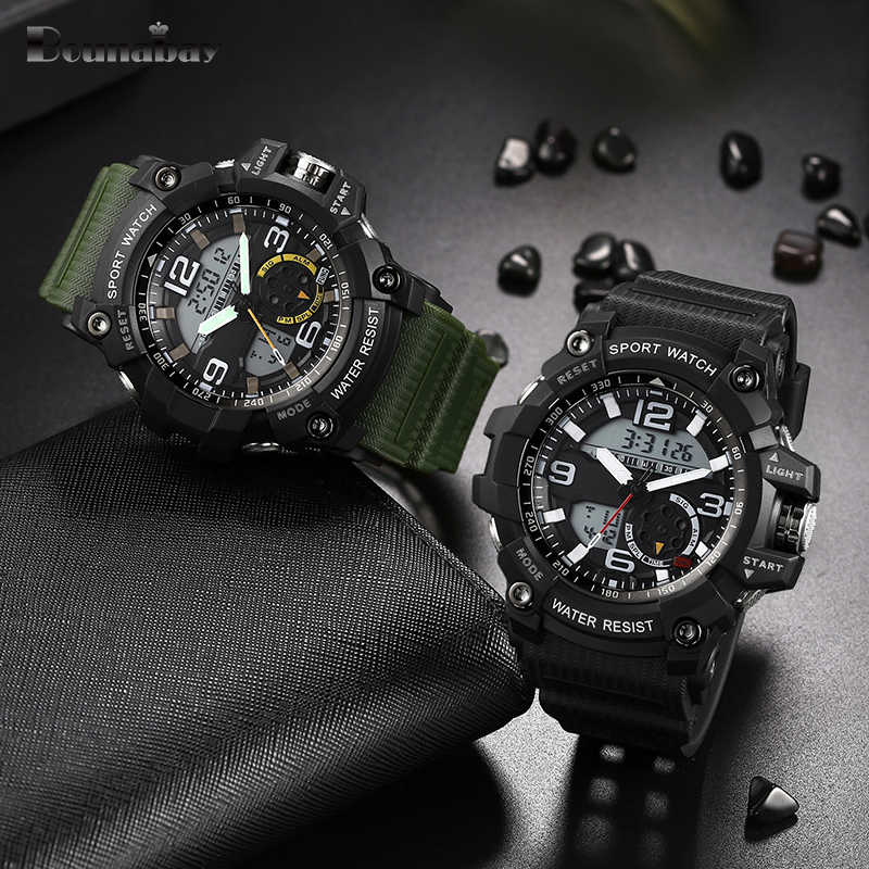 BOUNABAY Waterproof Sports Relógios Homens Analógico Relógio de Quartzo Digital LED Relógio Eletrônico Relógio Resistente Ao Choque Relogio masculino