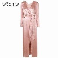 WBCTW Long Sleeve Autumn Dress Elegant XXS 7XL Plus Size Sexy Club Dress Deep V Neck Vintage Maxi Satin High Waist Dress