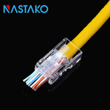 NASTAKO 50/100pcs EZ rj45 connector cat5 cat5e network 8P8C unshielded modular plug utp terminals have hole Pass