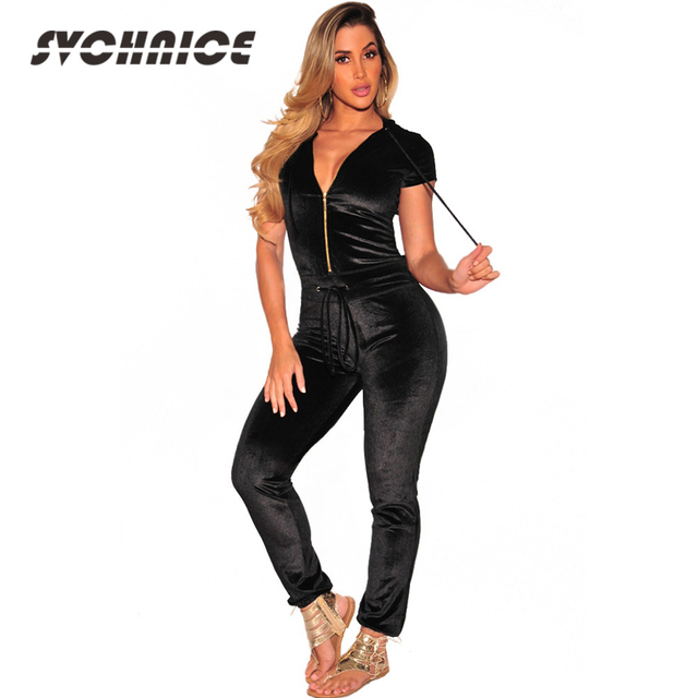 dbde418765b Autumn Winter V Neck Casual Jumpsuit Women Velour Workout Short Sleeve  Skinny Jumpsuit For Ladies Summer Rompers