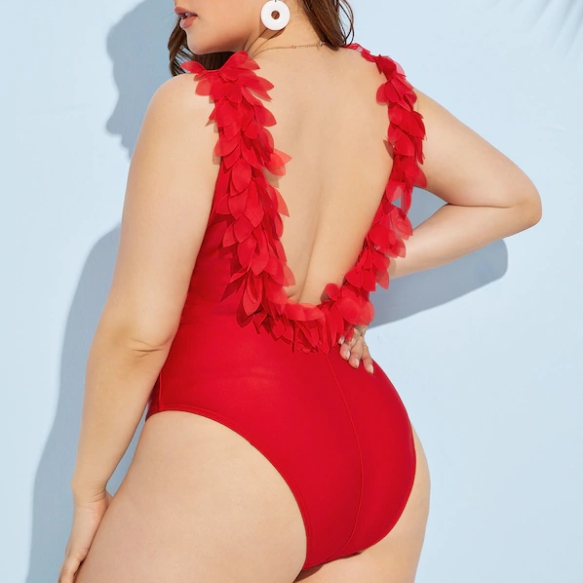 L-3XL Plus Size One Piece Swimsuit Red 3D Petal Swimwear Women Large Sizes Bathing Suit Backless Monokini Angel Swimsuit 2019