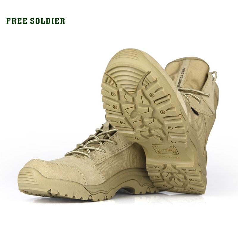 FREE SOLDIER Outdoor Sports Tactical Camping Shoes Men's Boots For Climbing Breathable Lightweight Mountain Boots Hiking Shoes-in Hiking Shoes from Sports & Entertainment    1