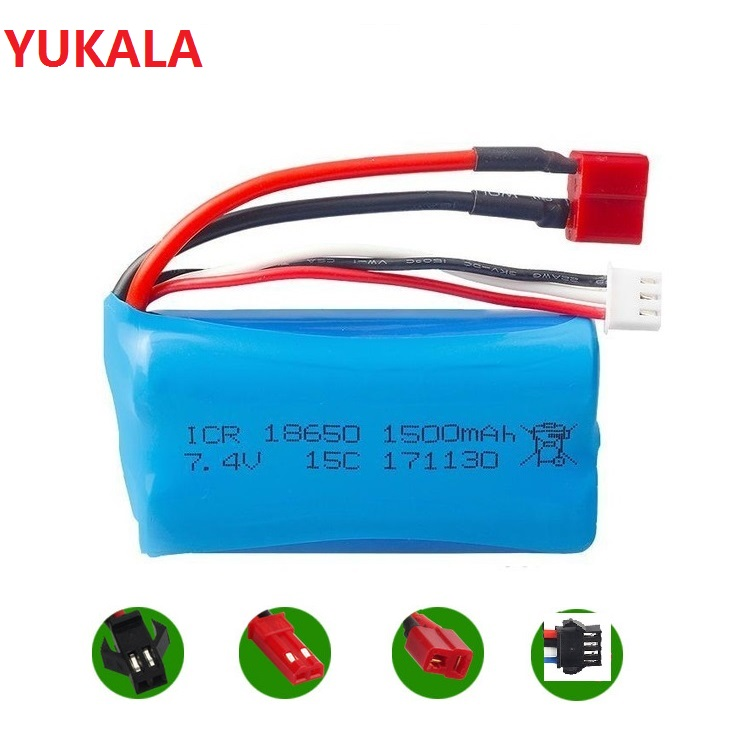 <font><b>7.4v</b></font> <font><b>1500mah</b></font> Li-ion <font><b>battery</b></font> 15c 18650/USB <font><b>charger</b></font> for wltoys 12428 12423 RC helicopter F45 F645 RC boat h101 UD002 SM JST T image