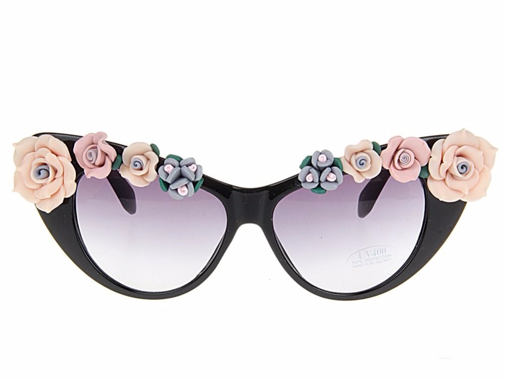 NEW Arrived Clay Flower Retro UV400 Summer Glasses Beach Sunglasses Purple Floral cat eye Women Sunglasses
