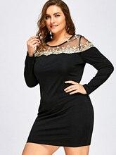 Plus Size Mesh Insert Mini Bodycon Robe Femme Winter Dress Vestidos