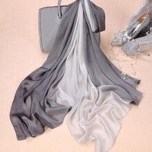 Модный женский шелковый шарф, однотонный, весенний, гладкий, женский, вуаль, роскошные шарфы, шаль, накидка для пляжа