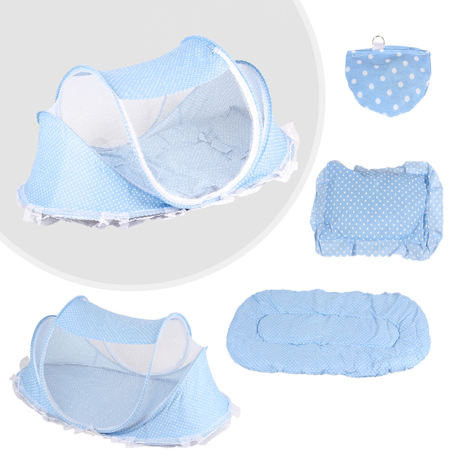 Baby Crib Baby Bed With Pillow Mat Set Portable Foldable Crib With Netting Newborn Infant Bedding Sleep Travel Bed# 1
