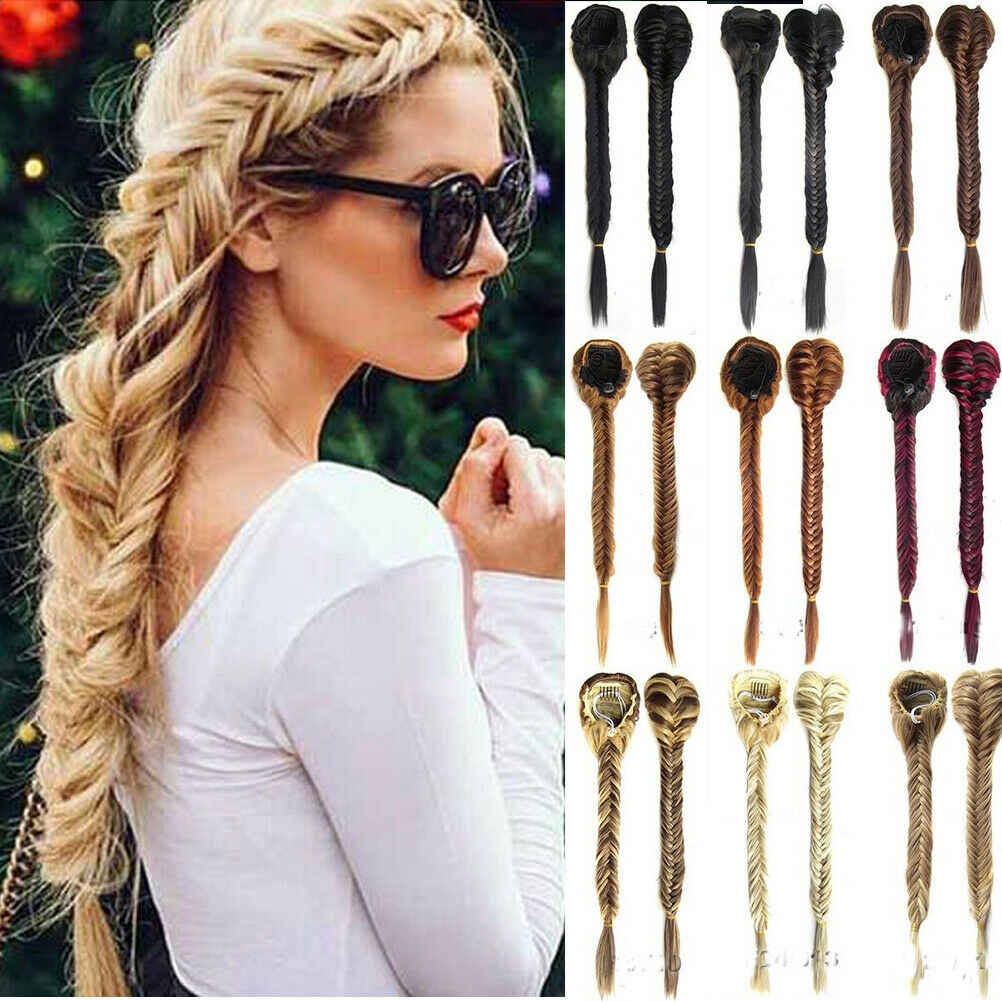 Hot Sale Party DIY Decorations Sythentic Women Hair Extensions Claw Braided Ponytail DIY Long Braid Thick