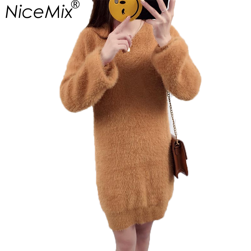 NiceMix 2018 Winter Sweater Dress Women Sexy V-neck Mink Cashmere Warm Long Pullover Sweaters Casual Loose Thick Dresses