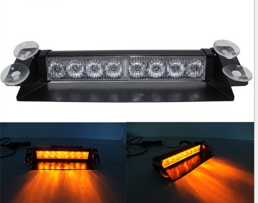 Universal 12V 8 LED Flash Beacon Strobe Warning Lights Car Van Truck S2 Front Sucker Burst Flash High-power Bright Lightning