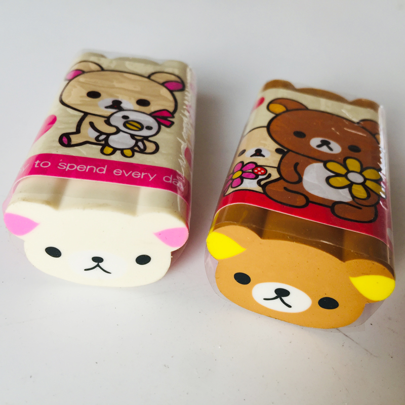 1X Cartoon Happy Brown Bear Eraser Rubber Erasers Correction School Office Supply Student Stationery Kid Gift