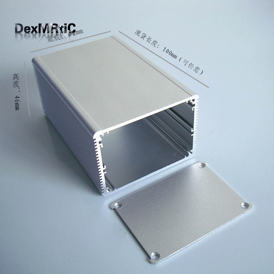 Aluminum Enclosure PCB POWER shell Electric project box desktop DIY 66*46*100mm NEW silver цены