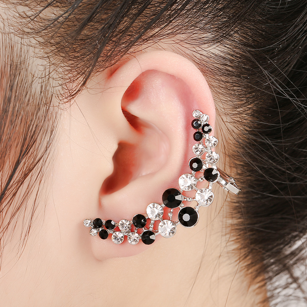2016 Bohemia Full Ear Ring Double Crystal Moon Ear Cuffs Clip On Earrings  Ear Cuff Boucle