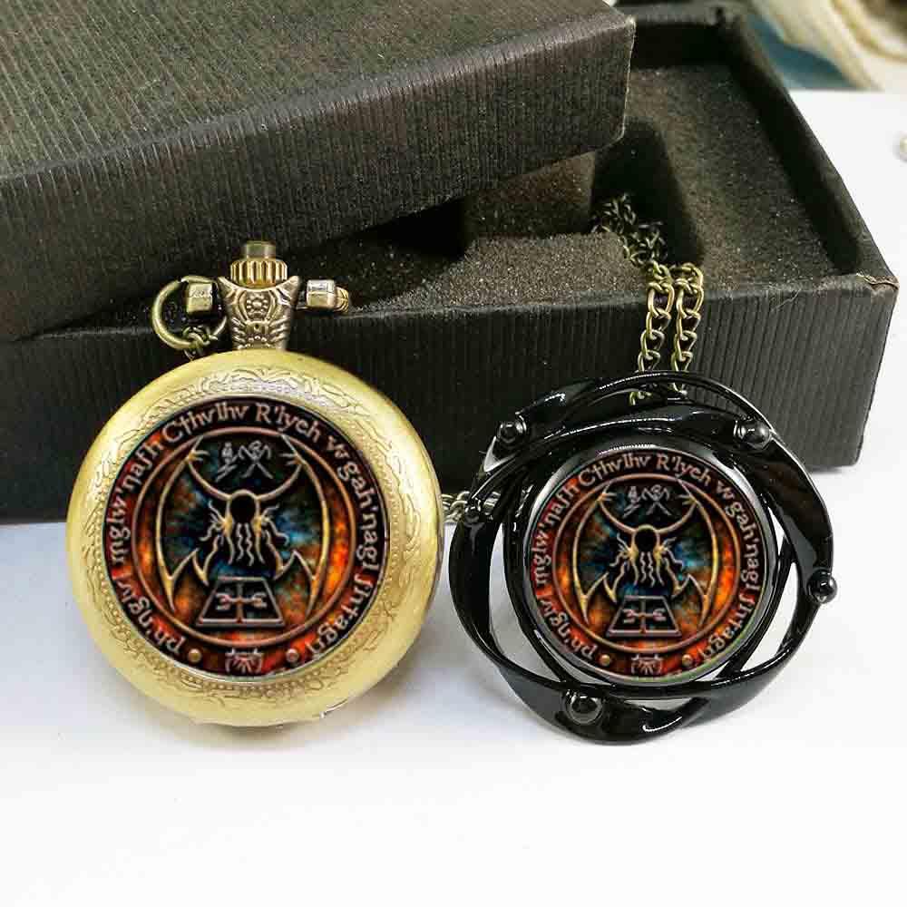 QiYuFan Cthulhu R'lyeh Sigil inspired by H.P. Lovecraft pocket watch & black flower big ring Jewelry Multilayers Charm free box