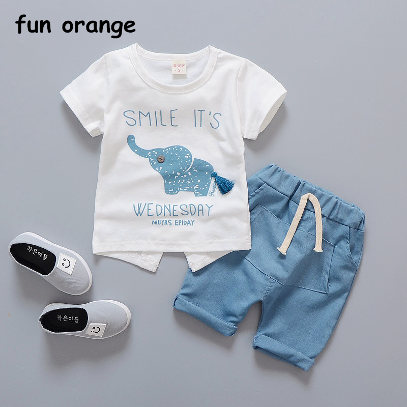 Fun Orange Baby Boy Clothes Set Summer Infant Clothing Elephant Short Sleeve T-shirts Tops Pants Kids Boys Girls Jogging Suits