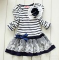 2015 retail new fashion autumn children clothing baby kid girl flower lace bowknot princess stripe long sleeve dress