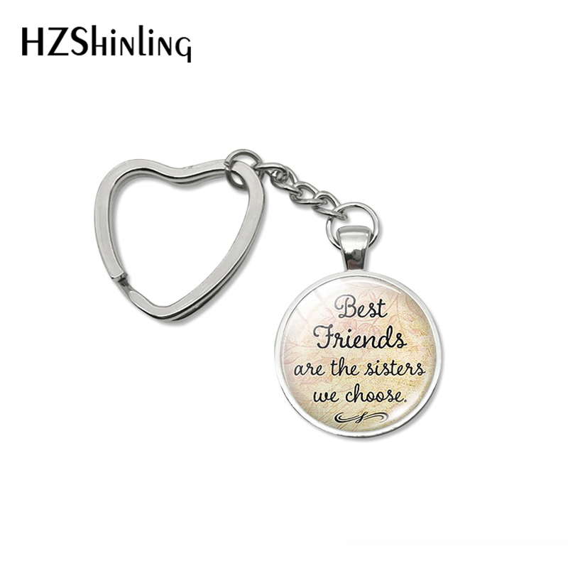 New Fashion Best Friends Are The Sisters We Choose Quotes Heart Key Chain Friendship Quote Jewelry Keyrings for Men Women image