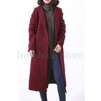 Kobiety Długi Płaszcz Z Wełny Z Pikowania Oversize Wykop Peacoats Zima New Fashion Design Wielbłąda Kaszmiru Grube Długie Kobiety Płaszcze Z Wełny