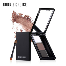 BONNIE CHOICE 2 Color Eyebrow Enhancer Pro Makeup Eyebrows powder Long-lasting Waterproof With Brush Mirror Cosmetic Kits